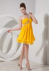 Beading Prom Homecoming Dress One Shoulder Yellow Mini