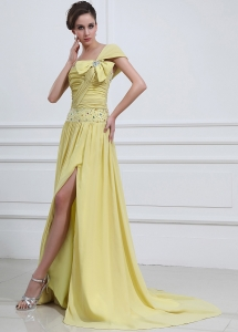 High Slit Yellow Prom Evening Dress One Shoulder Brush Train