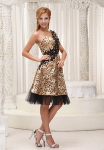 Leopard One Shoulder Homecoming Cocktail Dress