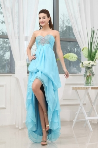 Prom Dress With Appliques High-low Aqua Blue
