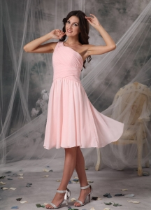 One Shoulder Dama Dress for Quince Baby Pink Knee