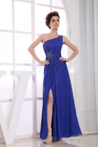 High Slit One Shoulder Ankle-length Chiffon 2013 Prom Dress