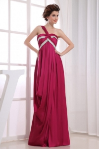 Wine Red Prom Dress One Shoulder Beading and Ruching