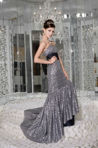 Mermaid Strapless Brush Train Sequin Sash Celebrity Dresses