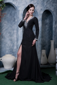 Celebrity Evening Dress Black V-neck Brush Train Beading