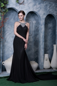 Black Chiffon Celebrity Evening Dress Scoop Beading