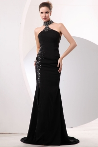 High-neck Evening Celebrity Dress Mermaid Brush Train Beaded