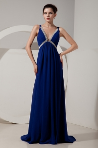 Empire V-neck Brush Train Beading Evening Pageant Dress