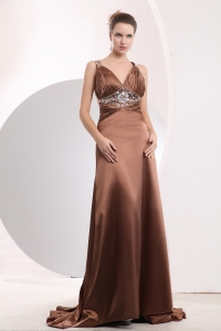 Brown Straps Watteau Train Beading Evening Dress
