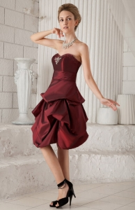 Taffeta Cocktail Homecoming Dress Burgundy Knee-length