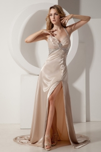 Slit Prom Evening Dress Champagne Court Train Beading Halter