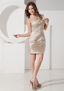 Champagne One Shoulder Mini-length Homecoming Dress