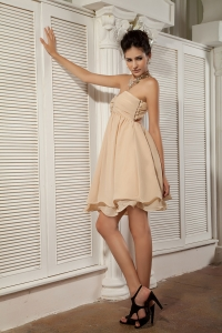 Champagne Dama Dress One shoulder Mini-length Beading