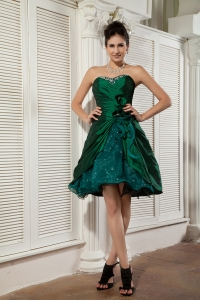 Organza Beading Dama Dress Dark Green Sweetheart Mini