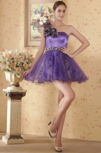 One Shoulder Cocktail Homecoming Dress Mini-length Beading