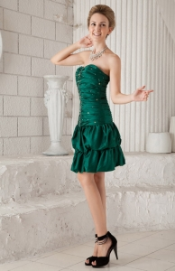 Beaded Prom Cocktail Dress Green Sweetheart Knee-length