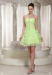 Yellow Green Prom Homecoming Dress Beaded Mini-length