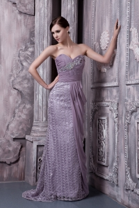 Celebrity Pageant Dress Special Fabric Beaded Lavender