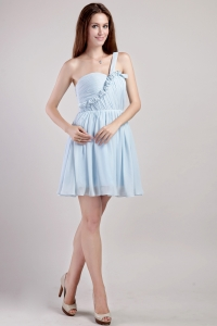 Mini-length Cocktail Holiday Dress Light Blue One Shoulder