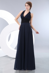 V-neck Halter Evening Celebrity Dress Navy Blue Empire