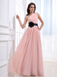 Black Sash Prom Dress Baby Pink One Shoulder Ruched