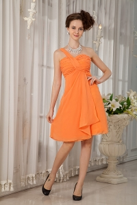 One Shoulder Dama Dress for Quinces Orange Mini-length