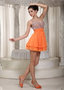 Beaded Prom Homecoming Dress A-line Mini-length Chiffon