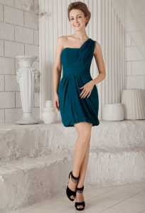 Peacock Green One Shoulder Prom Cocktail Dress Mini-length
