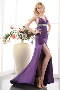 Elastic Woven Satin Prom Evening Dress Purple Straps Bead