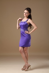 Purple Column Straps Mini-length Beading Dress for Prom