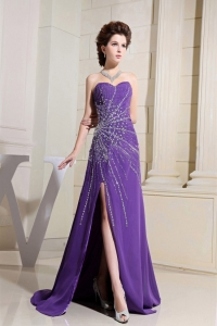 Purple Evening Dress With Beading and High Slit Brush Train