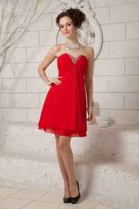 Red Beaded Dama Dress Chiffon Sweetheart Mini-length Empire