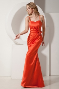 Mermaid Prom Evening Dress Rust Red Spaghetti Straps Satin