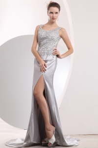 Silver Scoop Brush Train Beading Evening Dress