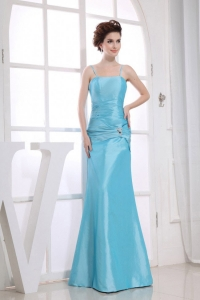 Mermaid Prom Dress Aqua Blue Spaghetti Straps Bead Ruch