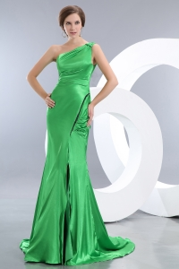 Pageant Dress Spring Green Mermaid One Shoulder Brush Train