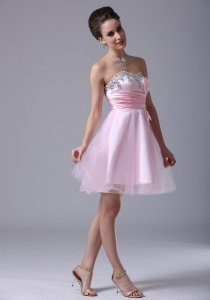 Baby Pink Homecoming Cocktail Dress Beaded Sweetheart
