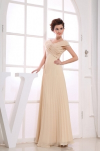 Champagne Prom Dress For Formal Evening Ruching V-neck
