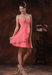 V-neck Watermelon Short Prom Homecoming Dress