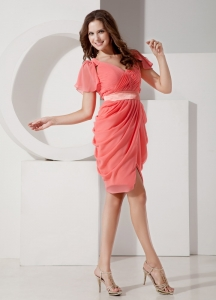 V-neck Prom Homecoming Dress Watermelon Knee-length