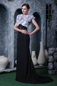 Handle Flower Celebrity Evening Dress White Black V-neck