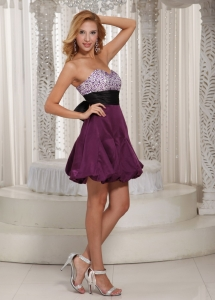 Beaded Prom Homecoming Cocktail Dress Dark Purple