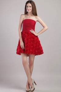 Wine Red Mini-length Cocktail Holiday Dress Rolling Flowers