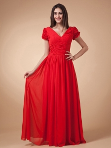 Short Sleeves Prom Dress V-neck Wine Red Chiffon With Ruch