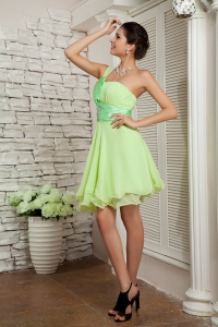 Yellow Green Dama Dress One Shoulder Mini-length Beading