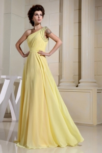 Beaded Decorated One Shoulder Yellow Simple Prom Dress