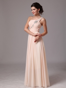 Beaded Shoulder Champagne Prom Pageant Gowns