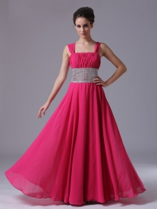 Hot Pink Pegeant Evening Dress With Silver Waist