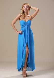 High Slit Ankle-length Baby Blue Celebrity Dress