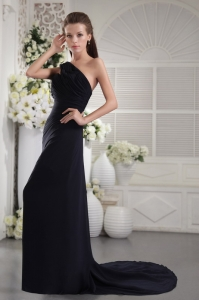 One Shoulder Black Column Rrom Dress For Sale